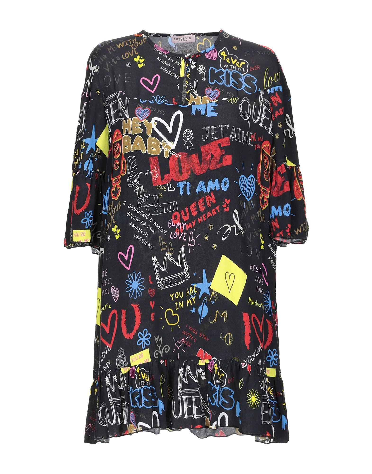 《送料無料》FOUDESIR レディース ミニワンピース&ドレス ブラック M レーヨン 100%