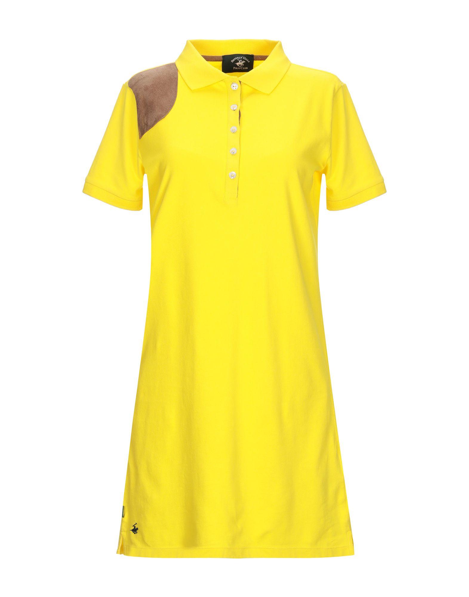 BEVERLY HILLS POLO CLUB Damen Kurzes Kleid Farbe Gelb Größe 5