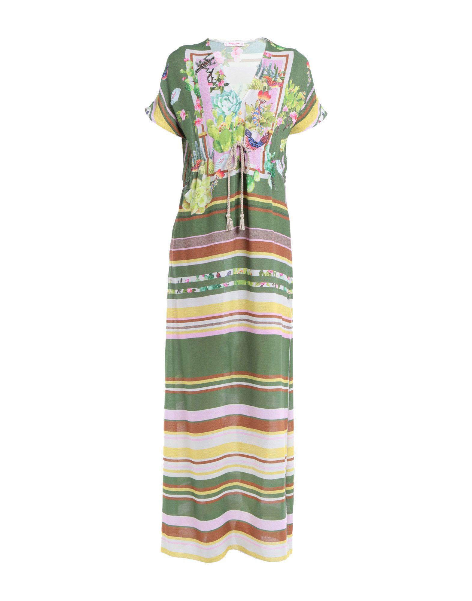 PIN UP STARS Длинное платье retro v neck short sleeve buttoned pin up dress for women