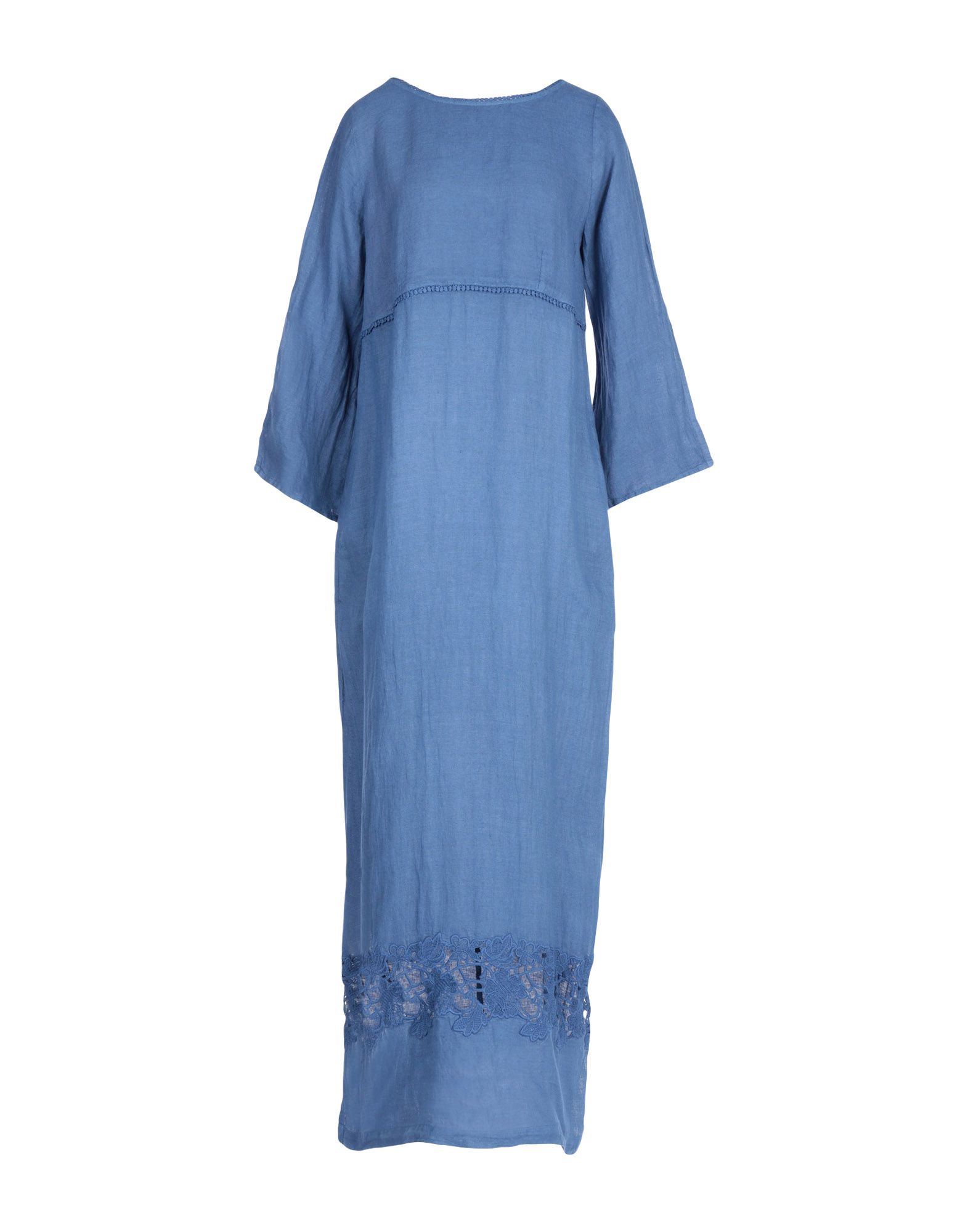《期間限定セール中》LA FABBRICA del LINO レディース ロングワンピース&ドレス ブルーグレー M 麻 100%