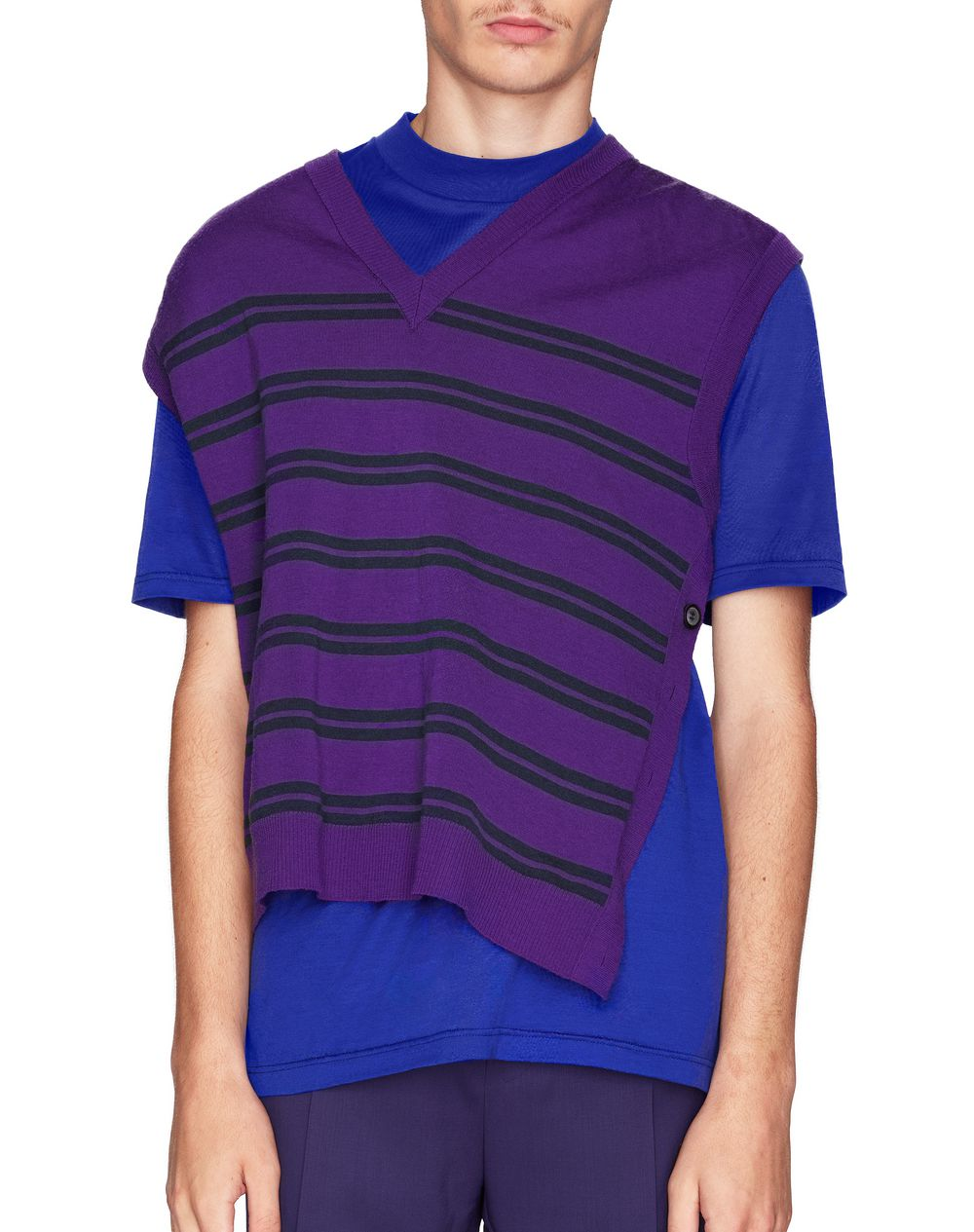 SLEEVELESS STRIPED V-NECK SWEATER - Lanvin