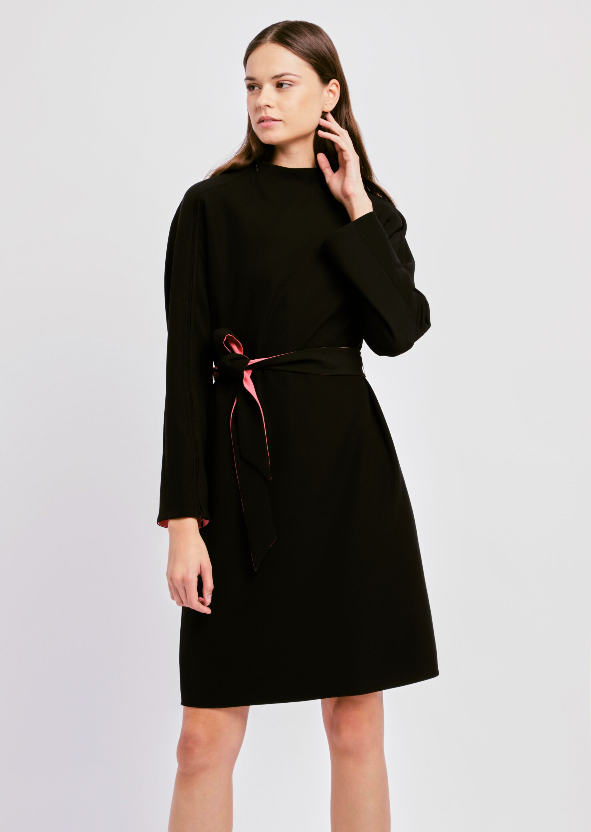 Contrast High Neck Belted Dress in Black from ARMANI.COM
