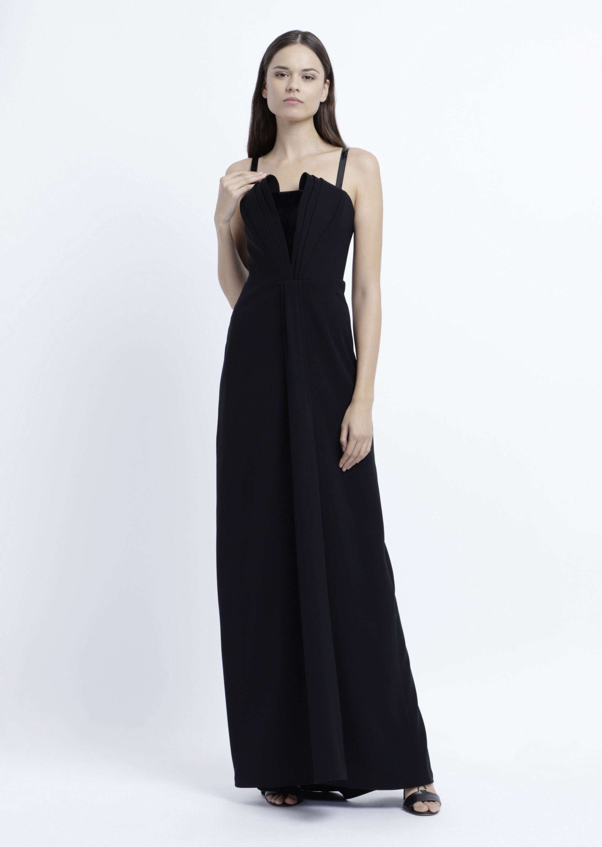 Sleeveless Molded A-Line Gown in Black from ARMANI.COM