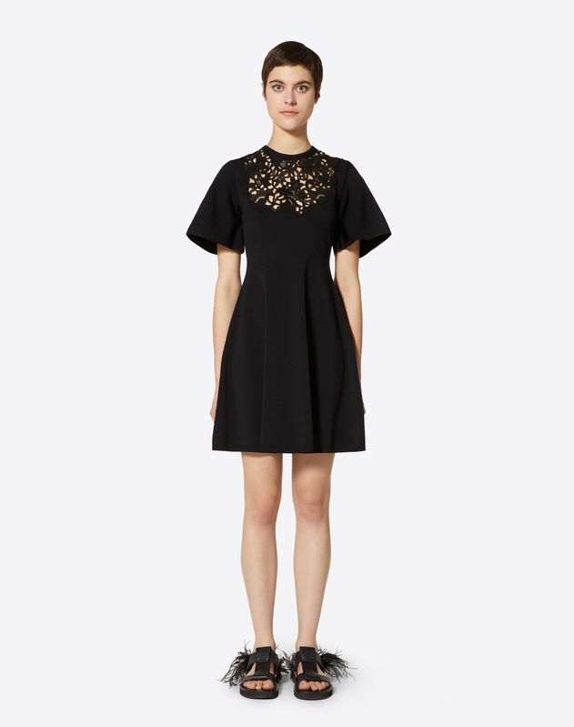 Stretch Viscose and Macramé Inlay Dress