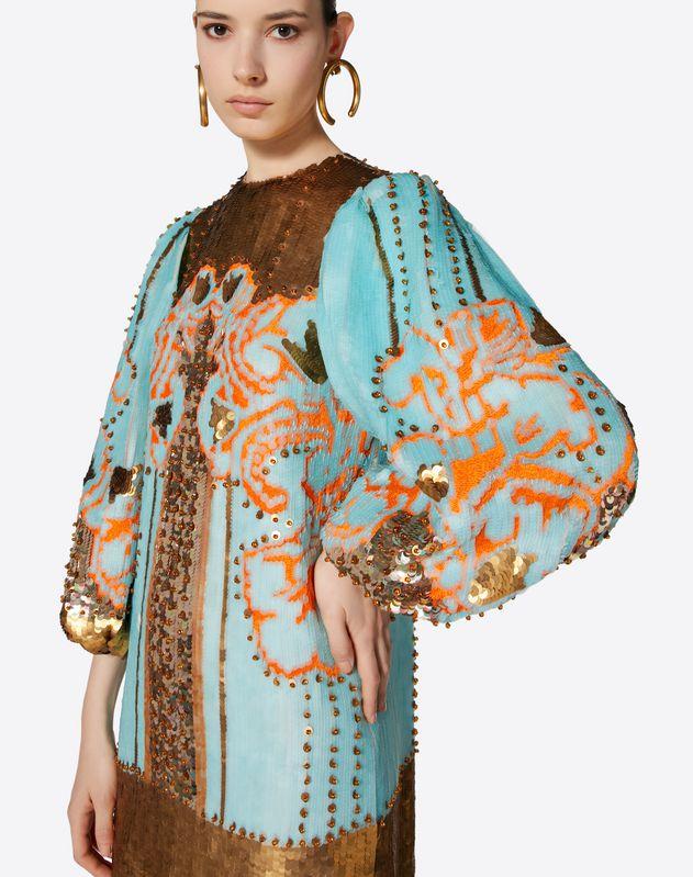 자수 장식 시폰 드레스