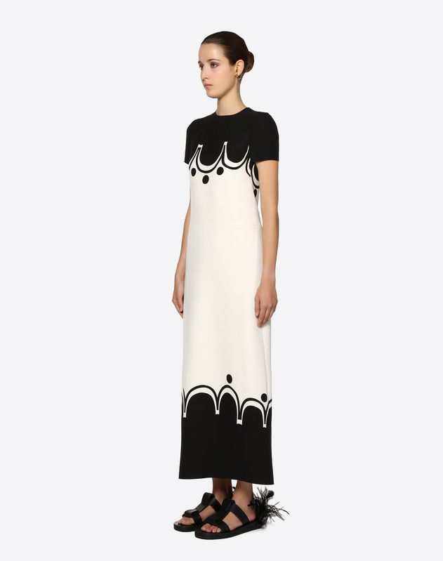 Graphic Shade Crepe Couture Dress