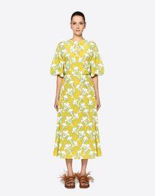 Graphic Elder Crepe de Chine Dress