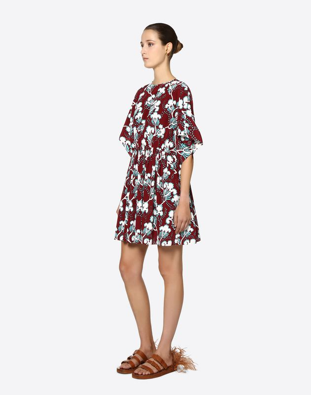 Graphic Elder Crepe de Chine Dress