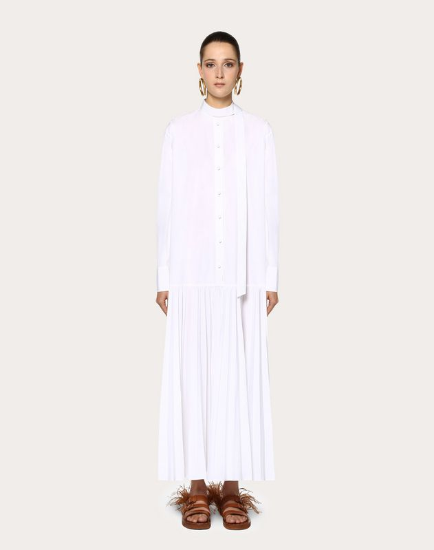 Pleated Technical Poplin Dress