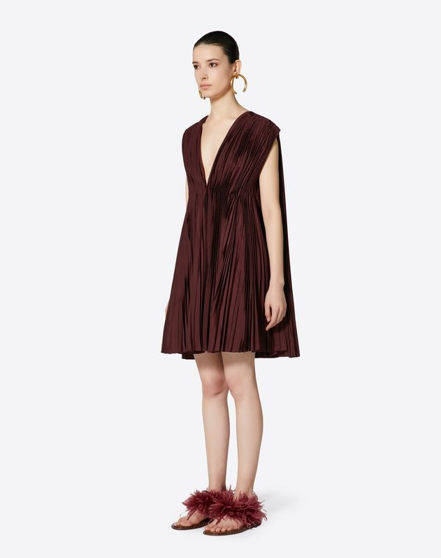 Pleated Micro Faille Dress