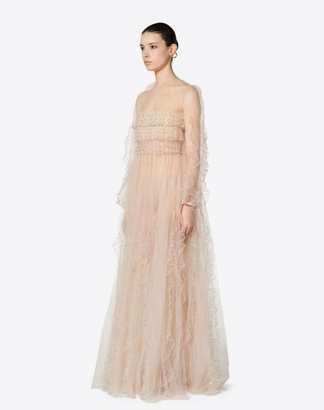Embellished Tulle Evening Dress