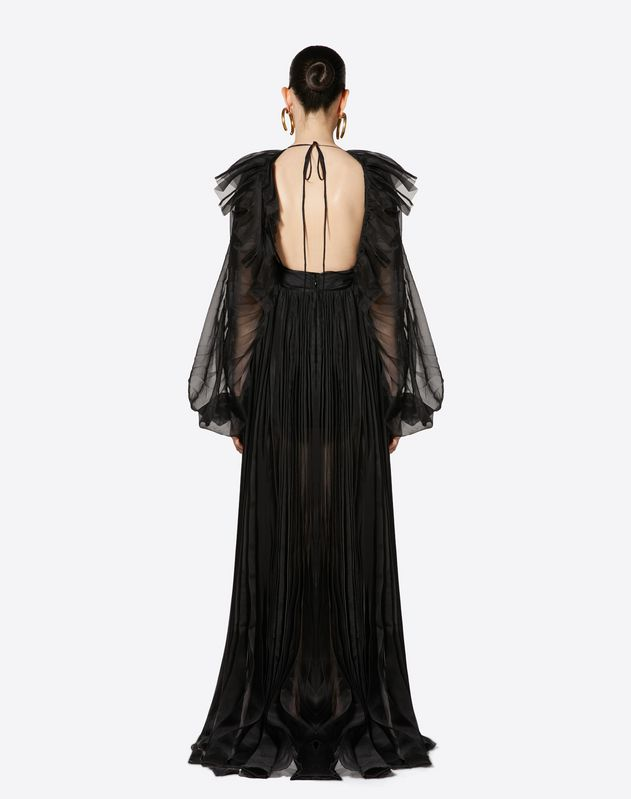 Pleated Organza Evening Dress