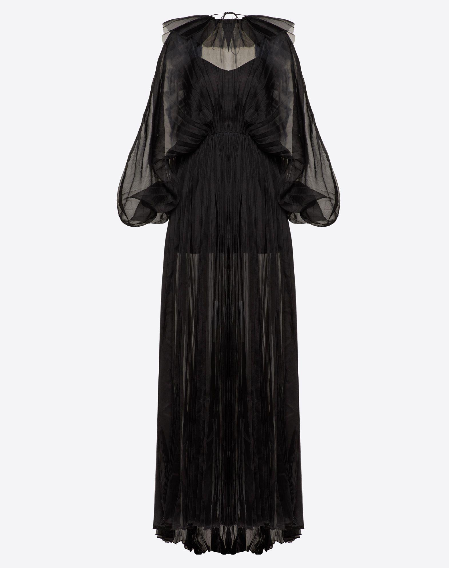 Pleated Organza Evening Dress