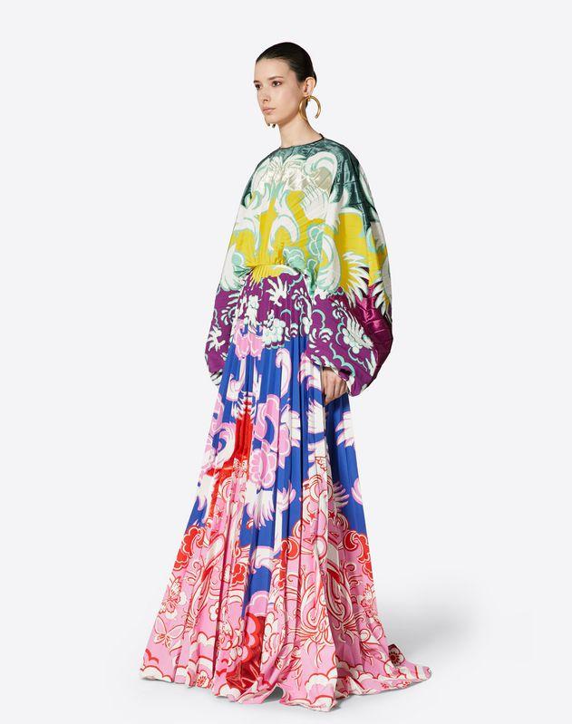 Inlay Pleated Evening Dress
