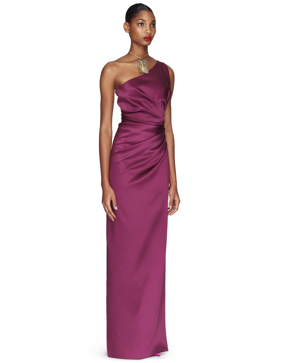 LONG PURPLE SLIT DRESS - Lanvin