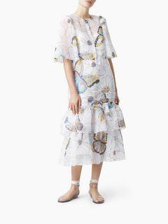 """Robe boutonnée en organza à imprimé """"Flowers and butterflies"""""""