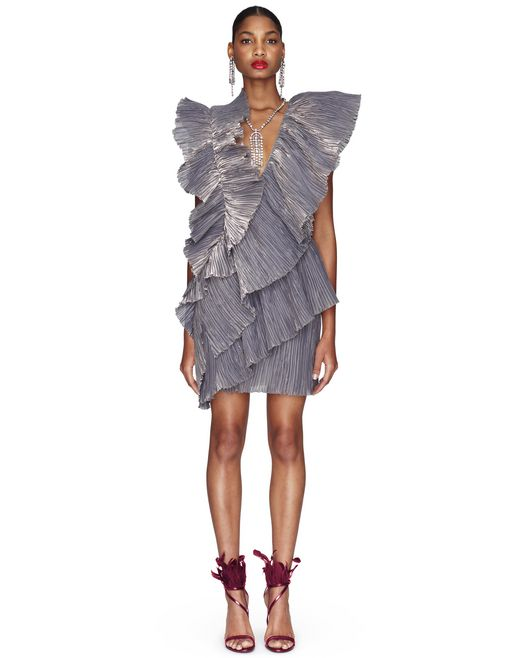 IRIDESCENT SILK CHIFFON DRESS - Lanvin