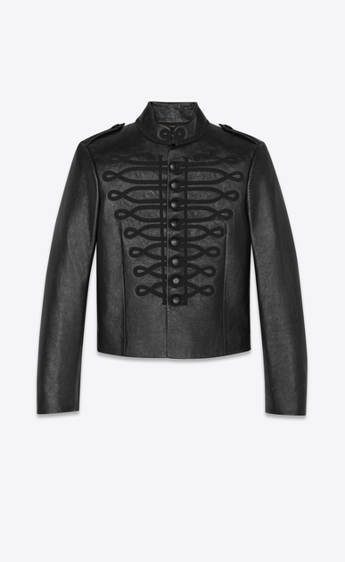 Leather officer jacket embroidered with passementerie