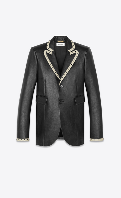Leather suit jacket decorated with rivets
