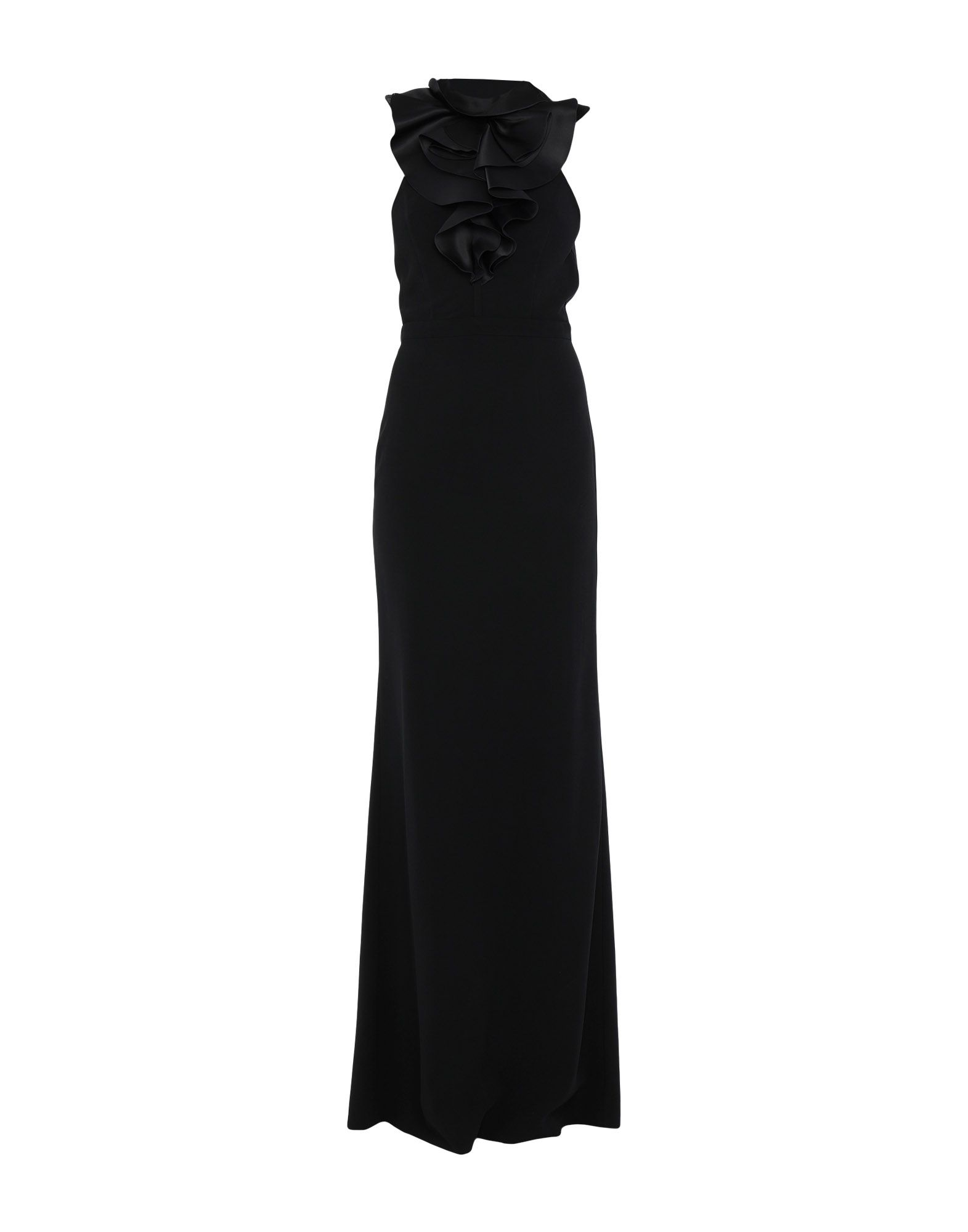 DSQUARED2 Long dresses. plain weave, ruffles, solid color, round collar, sleeveless, rear closure, hook-and-bar, zip, unlined, stretch, dress, small sized. 95% Viscose, 5% Elastane