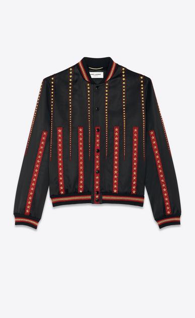 Satin varsity jacket embroidered with jukebox stars