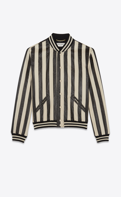 Varsity jacket in striped water snake