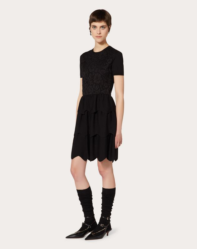 WOOL AND HEAVY LACE DRESS WITH SCALLOP DETAILING