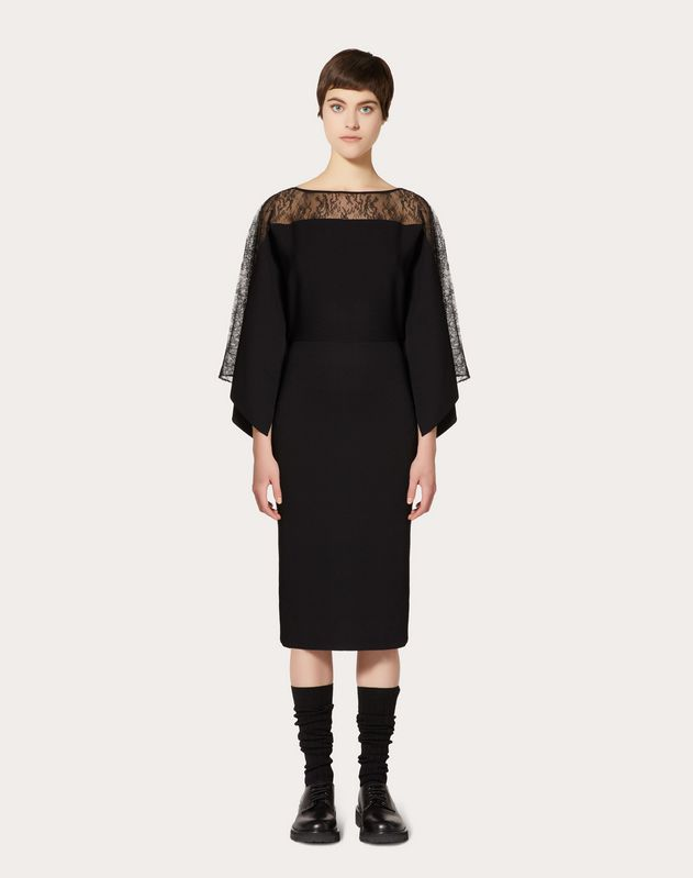STRETCH VISCOSE AND LACE DRESS