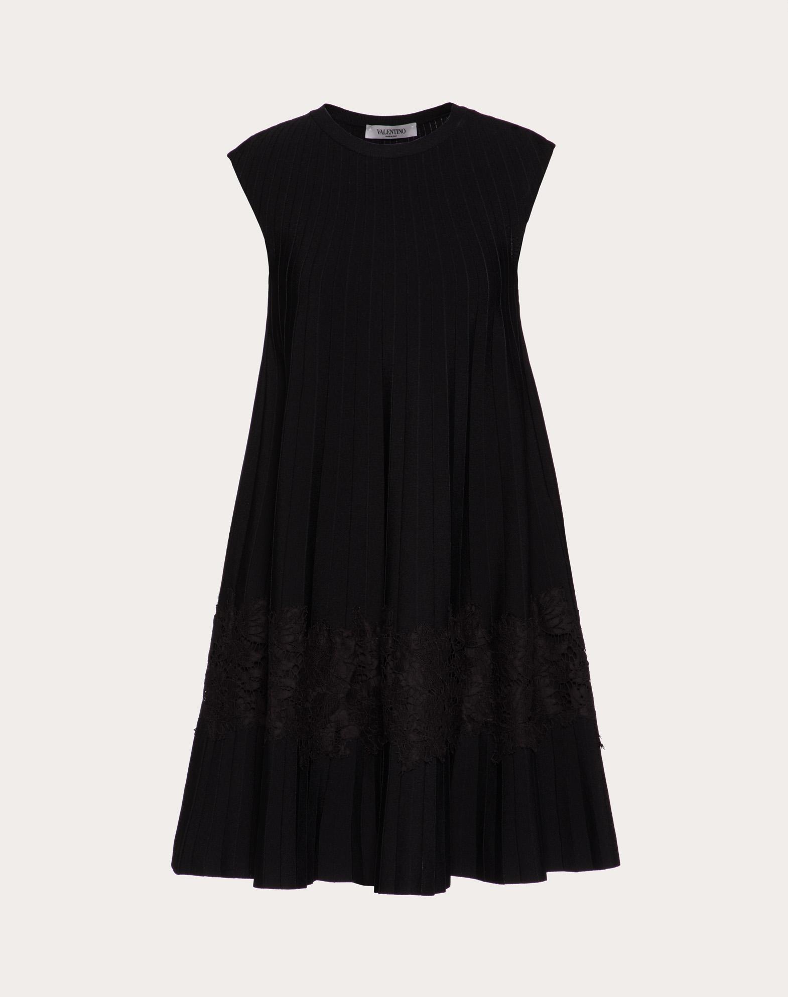 ストレッチビスコース&ヘビーレース ドレス