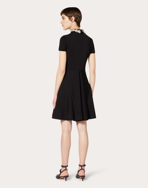 Stretch Viscose Dress with Embroidered Collar