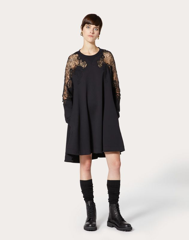 JERSEY AND CHANTILLY LACE SWEATSHIRT DRESS
