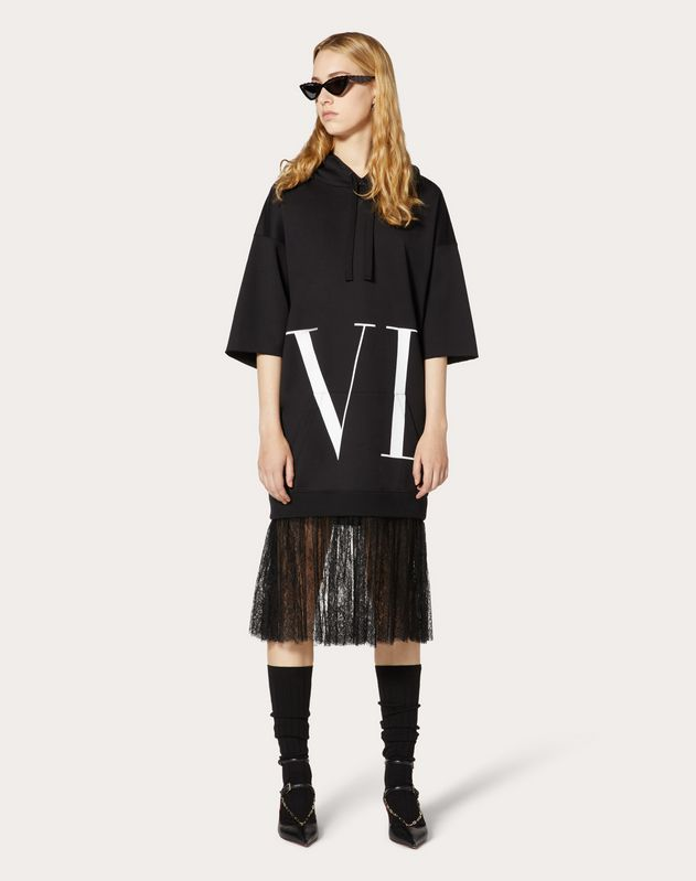 MACRO VLTN DETAIL AND CHANTILLY SWEATSHIRT DRESS