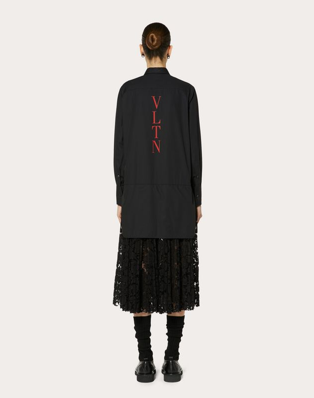 VLTN POPLIN AND HEAVY LACE PLEATED DRESS