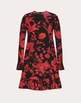 OVERDYED CREPE DE CHINE DRESS WITH DOUBLE FLOWER PRINT