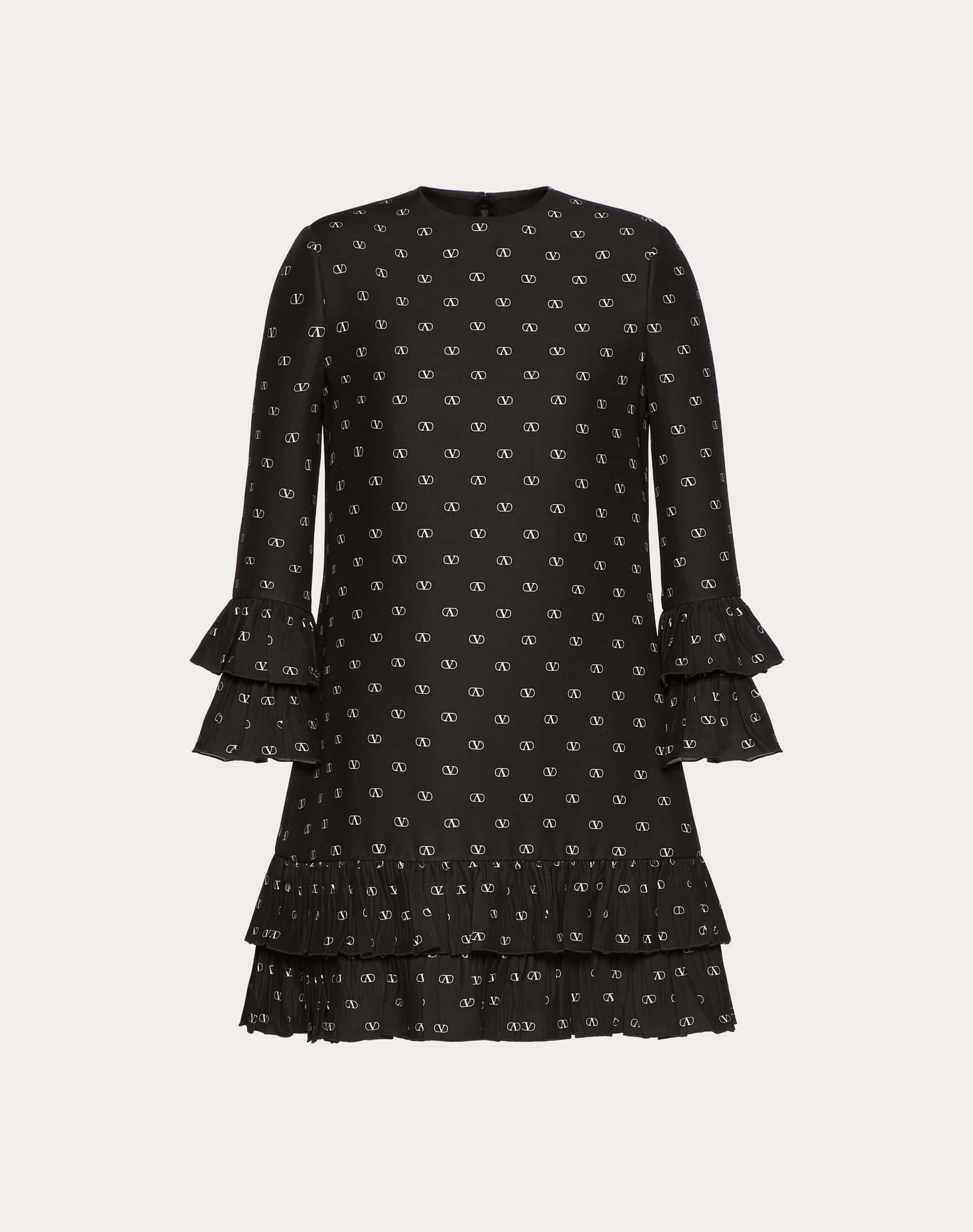 MINI VLOGO CREPE COUTURE DRESS WITH RUFFLES