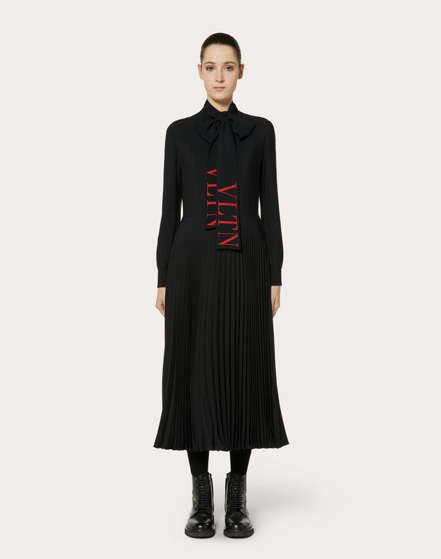 VLTN DOUBLE-FACED VISCOSE PLEATED DRESS