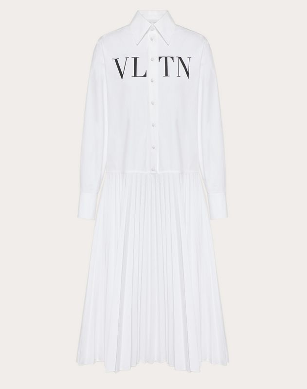 VLTN PLEATED POPLIN DRESS