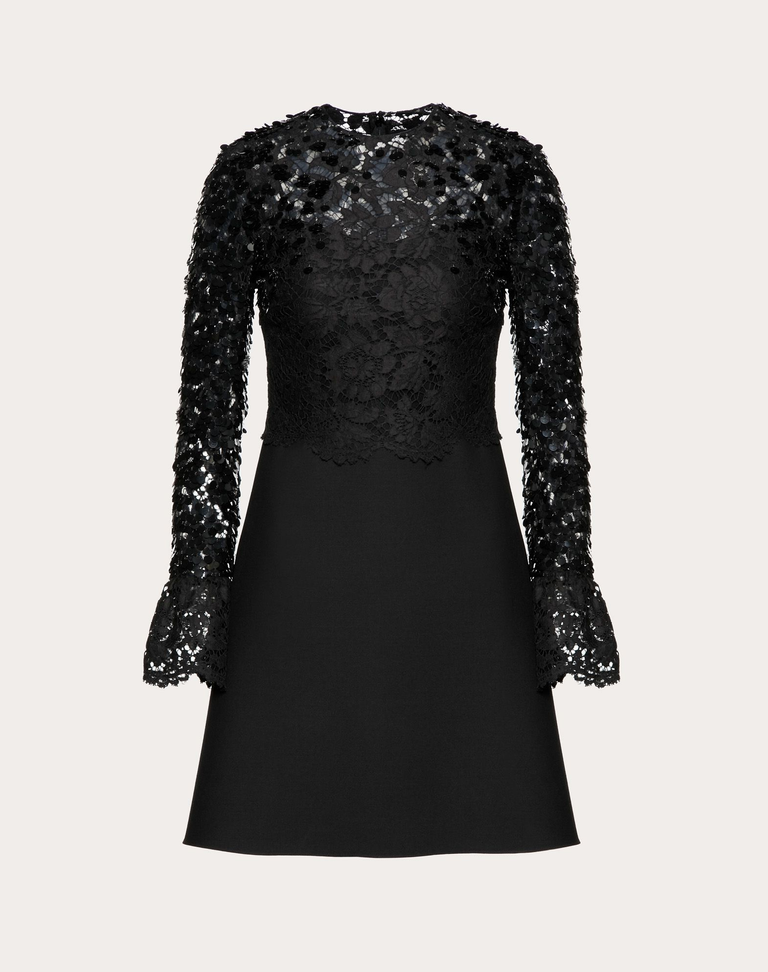 EMBELLISHED CREPE COUTURE AND HEAVY LACE DRESS