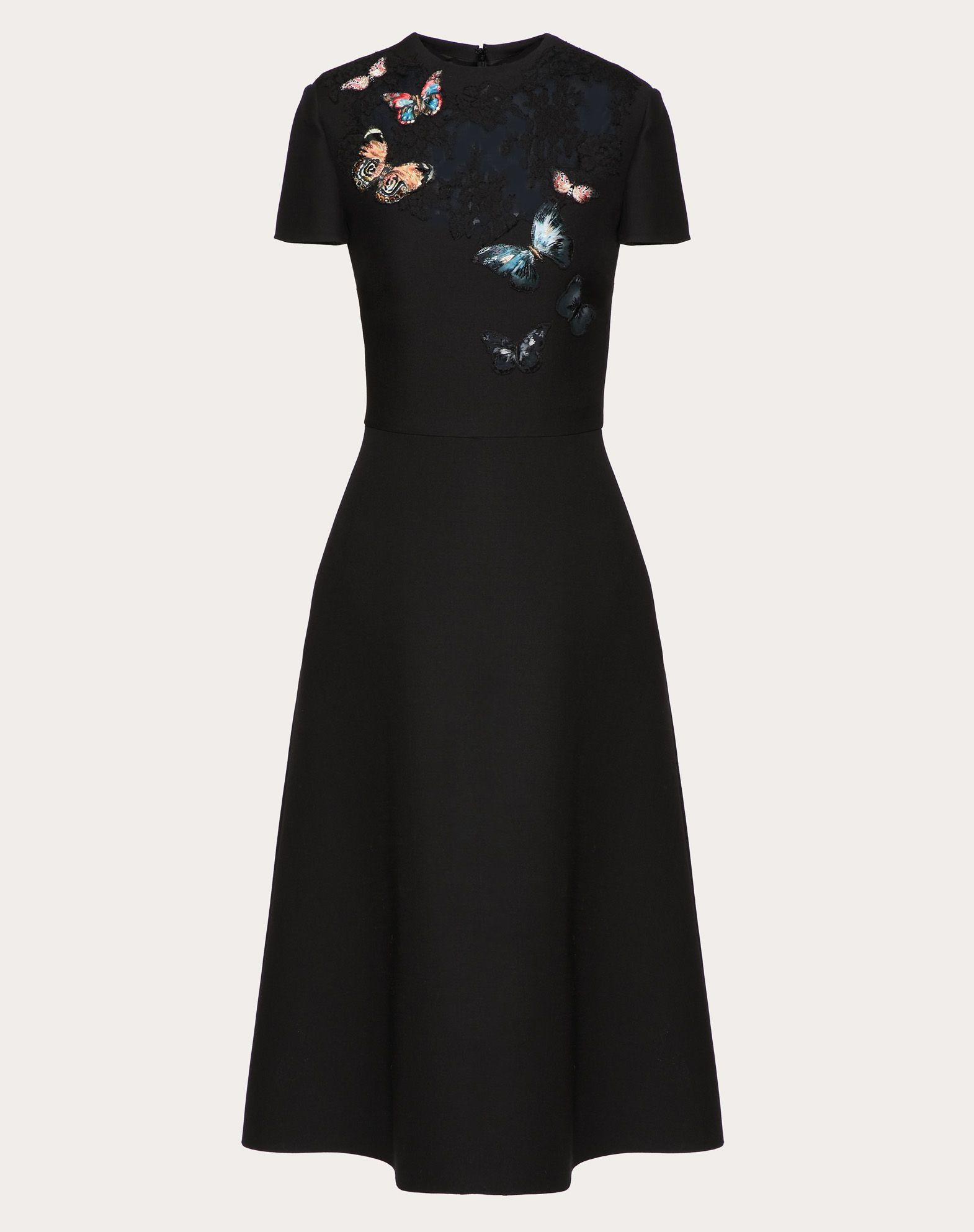 CREPE COUTURE DRESS WITH BUTTERFLY EMBROIDERY AND LACE DETAIL