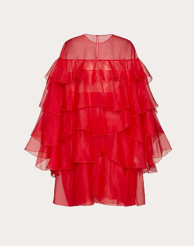 ORGANZA DRESS WITH RUFFLES
