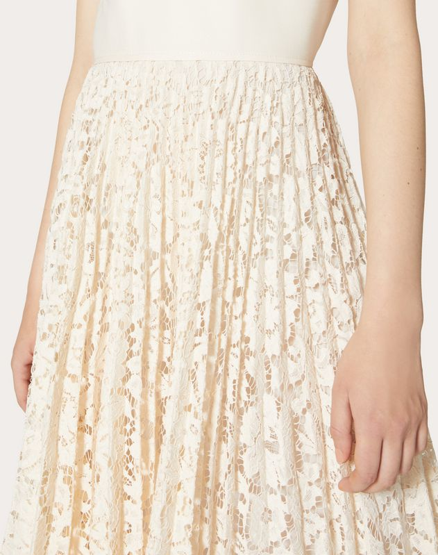 CREPE COUTURE AND HEAVY LACE PLEATED DRESS