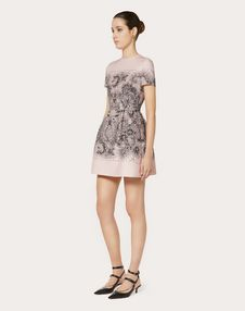LACE PRINT CREPE COUTURE DRESS