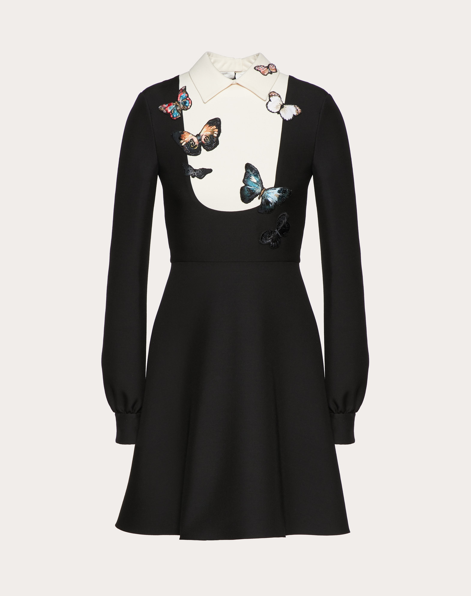 CREPE COUTURE DRESS WITH BUTTERFLY EMBROIDERY