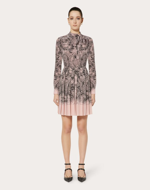 PLEATED CREPE DE CHINE DRESS WITH LACE PRINT