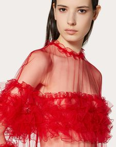 TULLE EVENING DRESS WITH RUFFLES