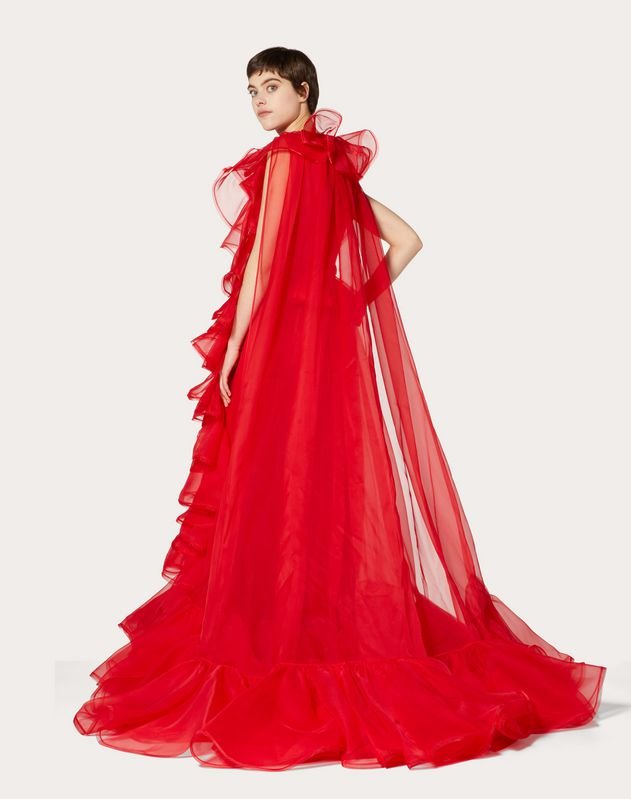 ORGANZA EVENING DRESS WITH RUFFLES