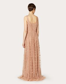 EMBELLISHED TULLE EVENING DRESS WITH RUFFLES