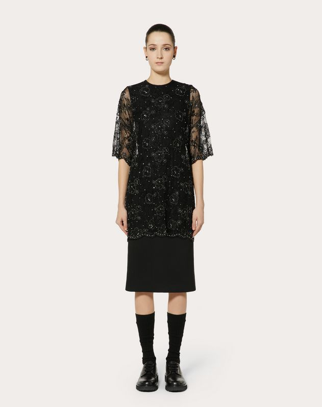 EMBELLISHED DOUBLE COMFORT CREPE AND LACE DRESS