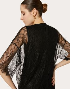 DOUBLE COMFORT CREPE AND LACE DRESS