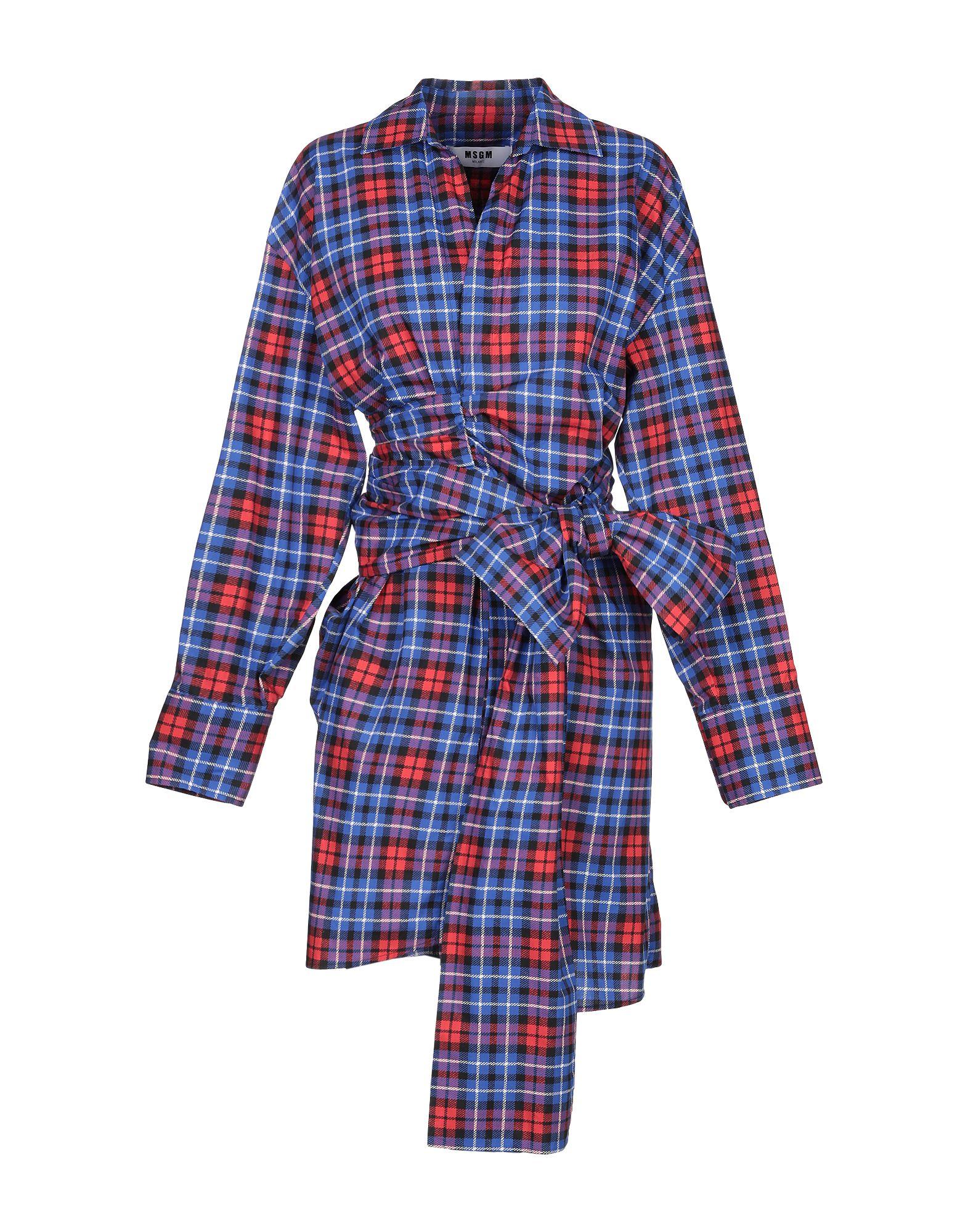 MSGM Short dresses. plain weave, belt, tartan plaid, classic neckline, long sleeves, no pockets, front closure, button closing, unlined. 100% Cotton
